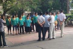 Sanitation workers and security guards set Stock Photos