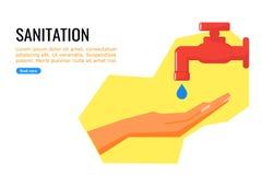 Sanitetsväsen genom att använda klappvatten stock illustrationer