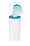 Sanitizer Wipes. Container of sanitizer wipes isolated on white Royalty Free Stock Photography