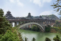 Sanjiang Wind and Rain Bridge,or roofed bridge Royalty Free Stock Images