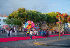 Sanjoaninas festivities, Angra do Heroismo, Terceira island, Azores. ANGRA DO HEROISMO, AZORES, PORTUGAL - JUNE 23, 2017: Evening before opening of Sanjoaninas Royalty Free Stock Image