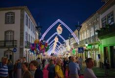 Sanjoaninas festivities, Angra do Heroismo, Terceira island, Azores. ANGRA DO HEROISMO, AZORES, PORTUGAL - JUNE 23, 2017: Evening before opening of Sanjoaninas royalty free stock photography