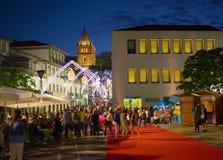 Sanjoaninas festivities, Angra do Heroismo, Terceira island, Azores. ANGRA DO HEROISMO, AZORES, PORTUGAL - JUNE 23, 2017: Evening before opening of Sanjoaninas Stock Images
