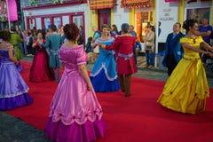 Sanjoaninas festivities, Angra do Heroismo, Terceira island, Azores. ANGRA DO HEROISMO, AZORES, PORTUGAL - JUNE 23, 2017: Traditional evening parade of Royalty Free Stock Images