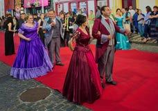 Sanjoaninas festivities, Angra do Heroismo, Terceira island, Azores. ANGRA DO HEROISMO, AZORES, PORTUGAL - JUNE 23, 2017: Traditional evening parade of Stock Photo