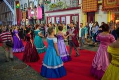 Sanjoaninas festivities, Angra do Heroismo, Terceira island, Azores. ANGRA DO HEROISMO, AZORES, PORTUGAL - JUNE 23, 2017: Traditional evening parade of Stock Photos