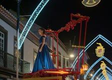 Sanjoaninas festivities, Angra do Heroismo, Terceira island, Azores. ANGRA DO HEROISMO, AZORES, PORTUGAL - JUNE 23, 2017: Traditional evening parade of Royalty Free Stock Photo