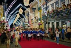 Sanjoaninas festivities, Angra do Heroismo, Terceira island, Azores. ANGRA DO HEROISMO, AZORES, PORTUGAL - JUNE 23, 2017: Traditional evening parade of royalty free stock photos