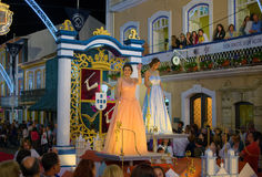 Sanjoaninas festivities, Angra do Heroismo, Terceira island, Azores. ANGRA DO HEROISMO, AZORES, PORTUGAL - JUNE 23, 2017: Traditional evening parade of Royalty Free Stock Image