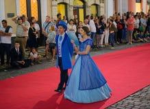 Sanjoaninas festivities, Angra do Heroismo, Terceira island, Azores. ANGRA DO HEROISMO, AZORES, PORTUGAL - JUNE 23, 2017: Traditional evening parade of Stock Images