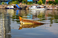 Sank Boat Royalty Free Stock Images