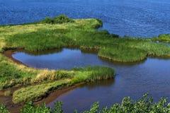 Sank flodbank fotografering för bildbyråer