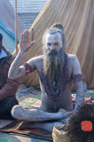 Sanka välsignelser i den Kumbha melaen Arkivfoto