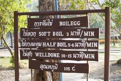 Sankampaeng-heiße Quellen an Ð-¡ hiangmai, Thailand-Schildanweisungen in, wie man die Eier in der heißen Quelle kocht Lizenzfreie Stockfotografie