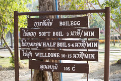 Sankampaeng hot springs at Сhiangmai, Thailand Signboard instructions on how to cook the eggs in hot spring. Royalty Free Stock Photography