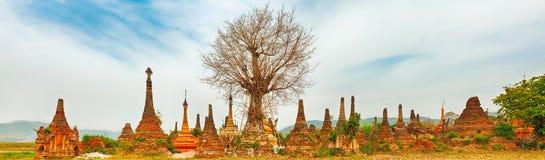 Sankar pagoda. Shan state. Myanmar. Panorama Stock Image