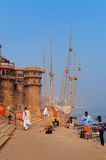 Sankatha Ghat em Varanasi no Ganges River Fotografia de Stock