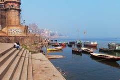 Sankatha Ghat em Varanasi no Ganges River Foto de Stock Royalty Free