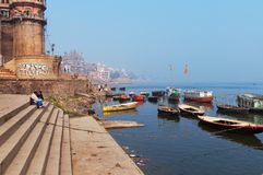 Sankatha Ghat  in Varanasi on the Ganges River Royalty Free Stock Photo