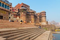 Sankatha Ghat  in Varanasi on the Ganges River Royalty Free Stock Photos