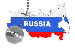 Sankcje Niszczą Rosja pojęcie ilustracji