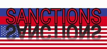 Sankcje przeciw Rosja przedstawiali Ameryka Rosja ` s odpowiedzią USA sankcje Obraz Stock