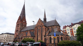 Sankt陪替氏kyrka是它在哥特式样式被修造的一个大教会在Malmö并且有105米344 ft高塔,马尔摩,瑞典人 库存图片