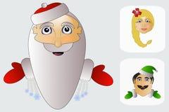Sankt, Assistentelfen und Frau Klaus sind Team Weihnachten Stockfotos
