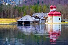 Sankt Bartholoma on Konigsee Royalty Free Stock Image