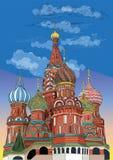 Sankt basilikadomkyrka av KremlMoskva, Ryssland Färgrik illustration för vektorhandteckning royaltyfri illustrationer