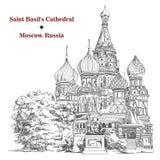 Sankt basilikadomkyrka i Moskva, bild för vektorhandteckning royaltyfri illustrationer