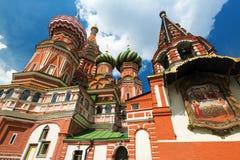 Sankt basilikadomkyrka på den röda fyrkanten i Moskva, Ryssland Arkivbilder