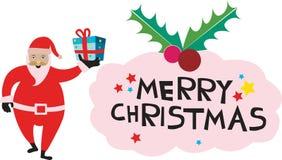 Sankt, die das Weihnachtsgeschenk sagt frohe Weihnachten hält stock abbildung