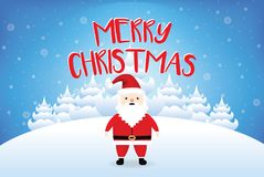 Sankt, die frohe Weihnachten mit Schneefallvektor sagt Lizenzfreie Stockbilder