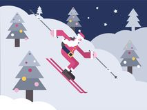 Sankt, die hinunter einen Berghang Ski fährt stock abbildung