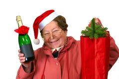 Sankt-Frau, die oben im roten Weihnachtskostüm ankleidet stockbild