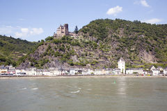 Sankt goarshausen with castle along the river Rhine Royalty Free Stock Image