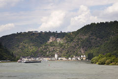 Sankt goarshausen with castle along the river Rhine Royalty Free Stock Photography