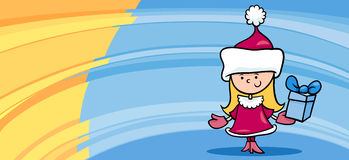 Sankt-Grußkartenkarikatur des kleinen Mädchens Stockfotos