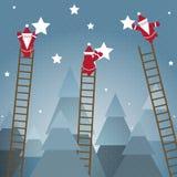 Sankt-hängende Sterne und Weihnachtsholz Stockbilder