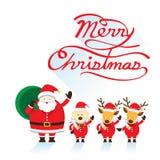 Sankt, Hund u. Ren, Weihnachtstext Stockfotos