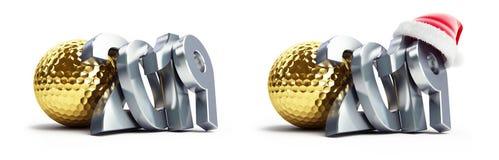 Sankt-Hut des neuen Jahres des Goldgolfballs 2019 auf einer weißen Illustration des Hintergrundes 3D, Wiedergabe 3D lizenzfreie abbildung