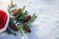 Sankt-Hut mit Tannenzweig auf Schnee Stockbild
