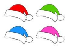 Sankt-Hut, Weihnachtskappen-Ikonensatz, Symbol, Design Wintervektorillustration lokalisiert auf weißem Hintergrund Stockfoto