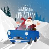 Sankt im blauen Auto für Feier der frohen Weihnachten vektor abbildung