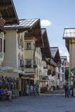 SANKT JOHANN IN TIROL, AUSTRIA. AUGUST 08, 2015:  The Street of St. Johann, a small medieval town in Tyrol Royalty Free Stock Images