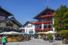 SANKT JOHANN IN TIROL, AUSTRIA. AUGUST 08, 2015:  The Street of St. Johann, a small medieval town in Tyrol Stock Photography