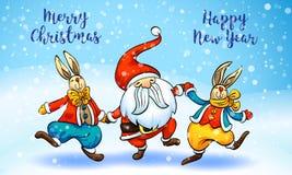 Sankt-Kaninchenkonzeptfahne der frohen Weihnachten, Karikaturart lizenzfreie abbildung