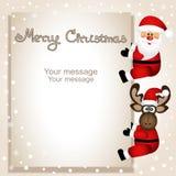 Sankt Klaus, Himmel, Frost, Beutel Lustige Postkarte mit Weihnachtselchen und -sankt lizenzfreie abbildung