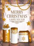 Sankt Klaus, Himmel, Frost, Beutel Weiße und goldene eingewickelte Geschenkboxen, Sterne, Perlen Hintergrund mit bokeh Leuchten V Stockbild